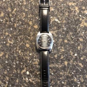Mens Fossil Black Leather Watch